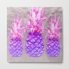 Pineapple on silver Metal Print