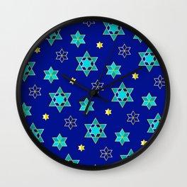 Hanukkah Jewish Star Geometric Pattern in Blue Contemporary Wall Clock