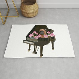 Boxer Dog in Piano with Lotos Flowers Rug