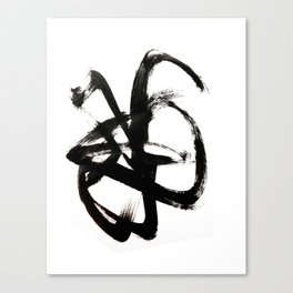 Brushstroke 4 - a simple black and white ink design Canvas Print