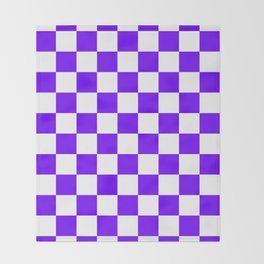 Checkered - White and Indigo Violet Throw Blanket