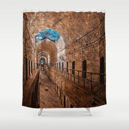 Prison Corridor - Sepia Blues Shower Curtain