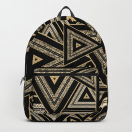Gold and Black Triangle Abstract Multi Pattern Design Backpack