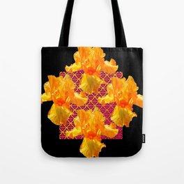Golden Spring Iris Patterned Black  Decor Tote Bag