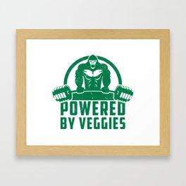 Powered By Veggies Vegan Gorilla - Funny Workout Quote Gift Framed Art Print
