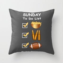 Funny Sunday Football To Do List Throw Pillow