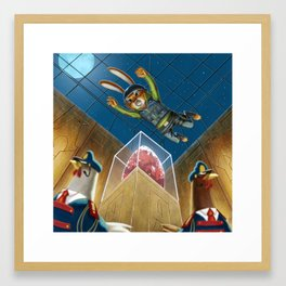 Bunny Burgling the Jeweled Egg of Ahen-Clucks Framed Art Print