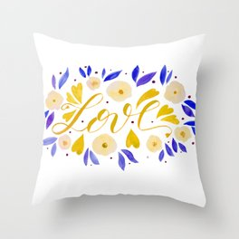 Love and flowers - yellow and purple Throw Pillow