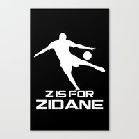 zidane Canvas Prints featuring Zidane Black by Sport_Designs