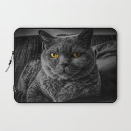 Cat with Yellow Eyes Laptop Sleeve