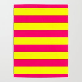 Bright Neon Pink and Yellow Horizontal Cabana Tent Stripes Poster