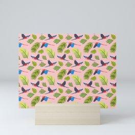 Scarlet Macaws in pink Mini Art Print