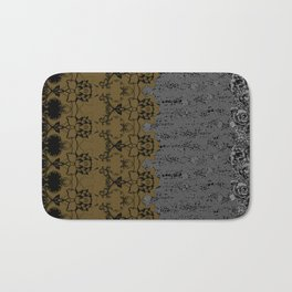 Damask Texture Border in Browns and Black Bath Mat