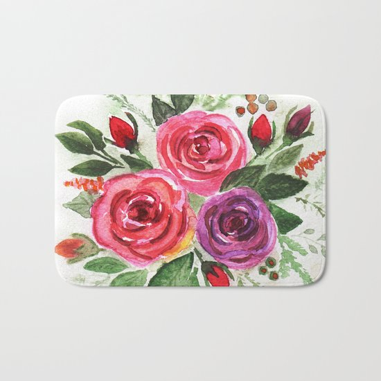 Watercolor floral pattern . Roses. Bath Mat