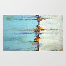 "Abstract White and Blue Painting – Textured Art – ""Sailing""  Rug"