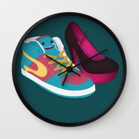 shoe Wall Clocks featuring Shoe Lovin' by mrbiscuit