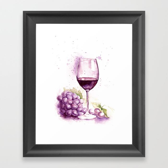 Glass Of Red Wine Framed Art by Lanadoraart FRM8866325