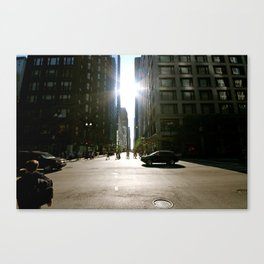 Sun Between Buildings Canvas Print