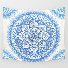 Yin Yang Mandala in Soft Blues Wall Tapestry