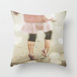 Tippy Toe through the Sand Throw Pillow