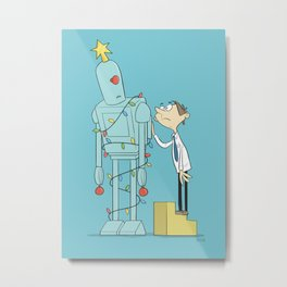Robot Tree Metal Print