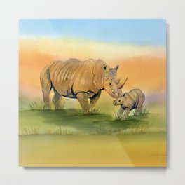 Colorful Mom and Baby Rhino Metal Print