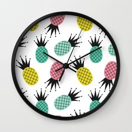 colorful cute pineapples  pattern background illustration Wall Clock