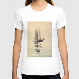 Vintage Schooner Sailboat Watercolor Painting (1894) T-shirt