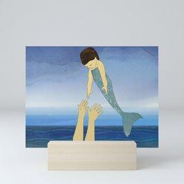 Triton tossing his mermaid daughter Mini Art Print