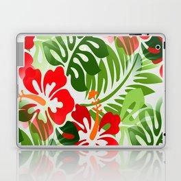 Hawaiian Flowered Shirt Pattern Red Green Laptop & iPad Skin