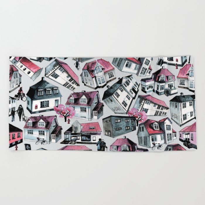 Danish small town pattern Beach Towel