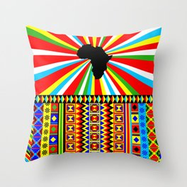 Kente Cloth Pattern with Africa Continent Sun Throw Pillow