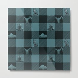 Fox and Bear Plaid #3 BLUE Metal Print