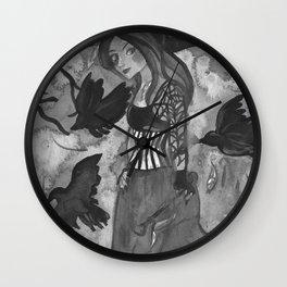 Raven Witch - Black & White Wall Clock