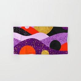 Terrazzo galaxy purple orange gold Hand & Bath Towel