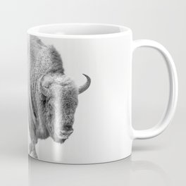 Wild Bison in Fogs Black and White Photography Art Coffee Mug