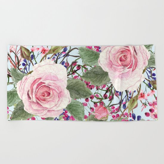 Watercolor Roses #2 Beach Towel