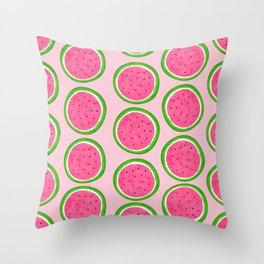 Watercolor Pink Watermelon Pattern Throw Pillow