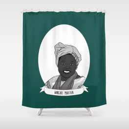 Wangari Maathai Illustrated Portrait Shower Curtain