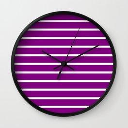 Horizontal Lines (White/Purple) Wall Clock