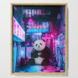 Giant panda in a Chinese street by GEN Z Serving Tray