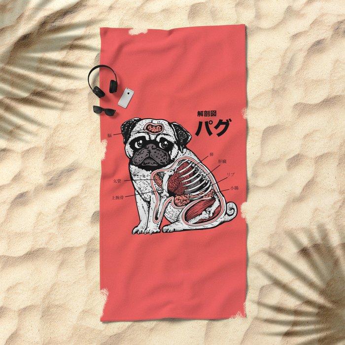 Pug Anatomy Beach Towel