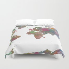 World Map - Watercolor 4 Duvet Cover