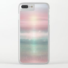 """Pink sky over blue sea Sunset"" Clear iPhone Case"