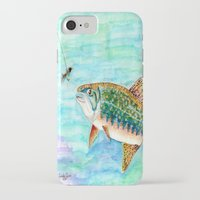 trout iPhone & iPod Cases featuring Brook Trout by Linda Ginn Art ©