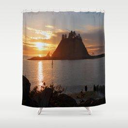 An Amazing Sunset Over First Beach Shower Curtain
