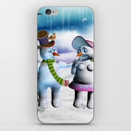 Funny, cute snowman and snow women iPhone Skin