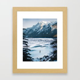 Winter at Lake Minnewanka Framed Art Print