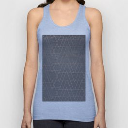 Modern rose gold geometric triangles blush pink abstract pattern on grey cement industrial Unisex Tank Top