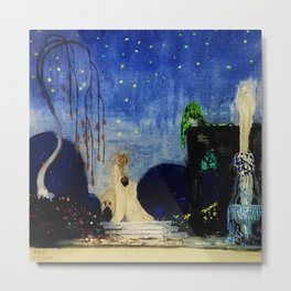 Deserted Moment magical realism landscape painting by Kay Nielsen Metal Print